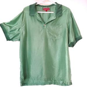 Supreme Men's Green Silk Logo Pocket Polo Shirt